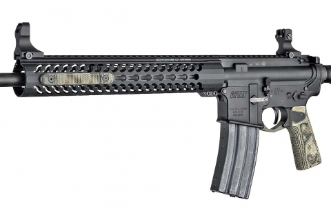 An AR-15 rifle with the new Hogue G10 KeyMod rail covers mounted