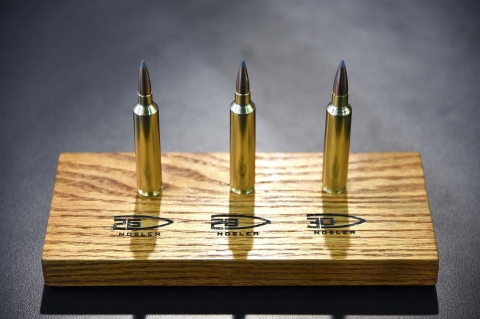 From left: the 26, 28 and 30 Nosler ammunition