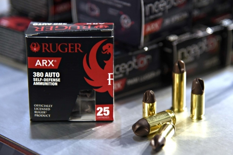 Ruger ARX self-defense ammunition, realized by Polycase with injected molded copper/polymer matrix projectiles