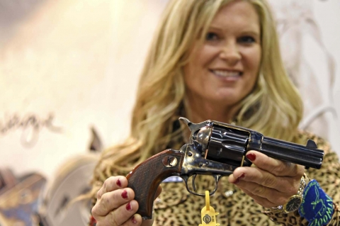 Uberti 1873 Short Stroke revolver designed for Kenda Lenseigne, with byrd-eye grips and short stroke hammer action