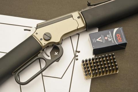 Rosata di 5 colpi a circa 20 metri (arma su rest) con la carabina Chiappa LA322 Kodiak Cub