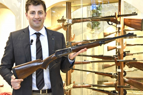The Pedersoli 1886 Hunter Light rifle sports a light round barrel and is chambered for the .45-70 Government or the .444 Marlin