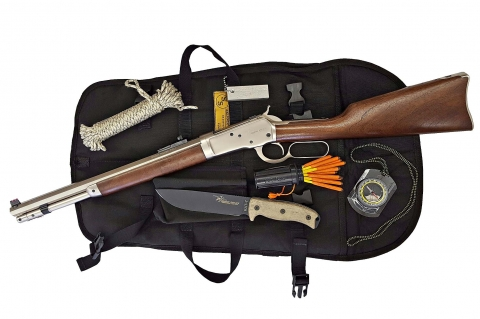The core of the kit is a Chiappa Firearms Alaskan take down lever action rifle in .44 Magnum caliber (not all kit accessories are visible)