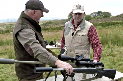 At right, Robert Sajitz (CEO Blaser Sporting) during the field testing of the Mauser M12 Impact rifle