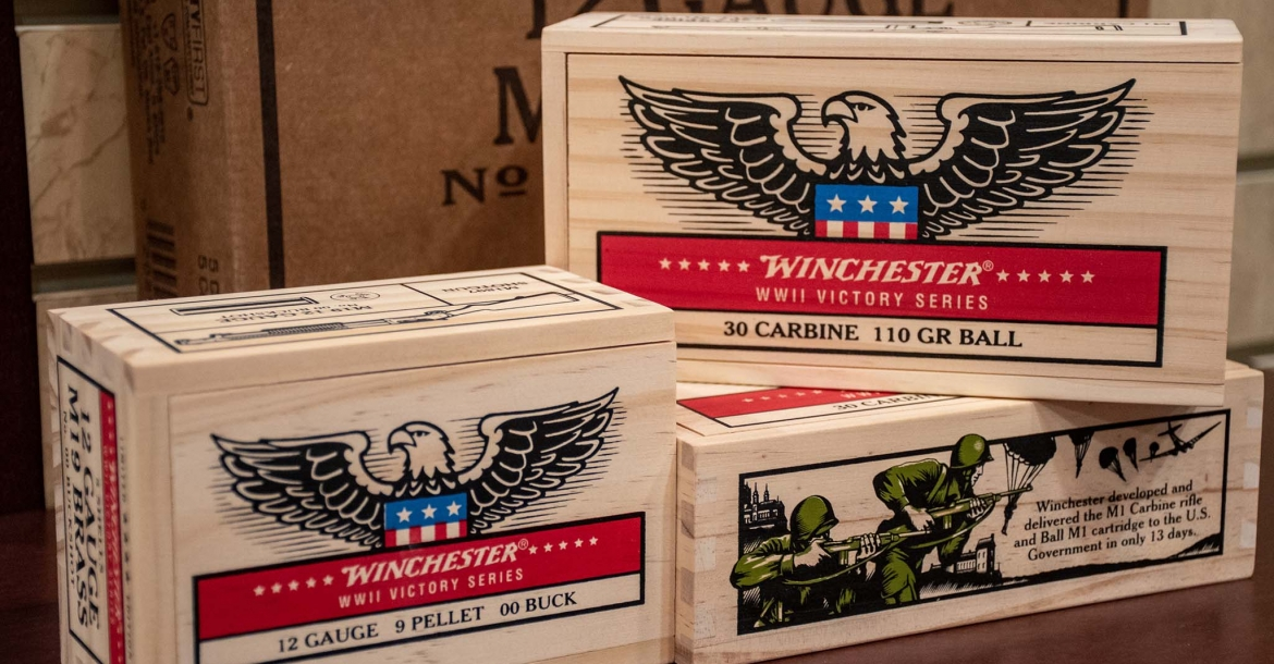 Winchester WWII Victory Series ammunition in 12-gauge and .30 M1