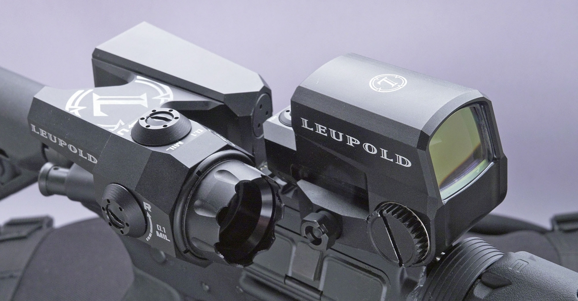 The Leupold D-Evo (at left) coupled wit a Leupold LCO Red Dot sight