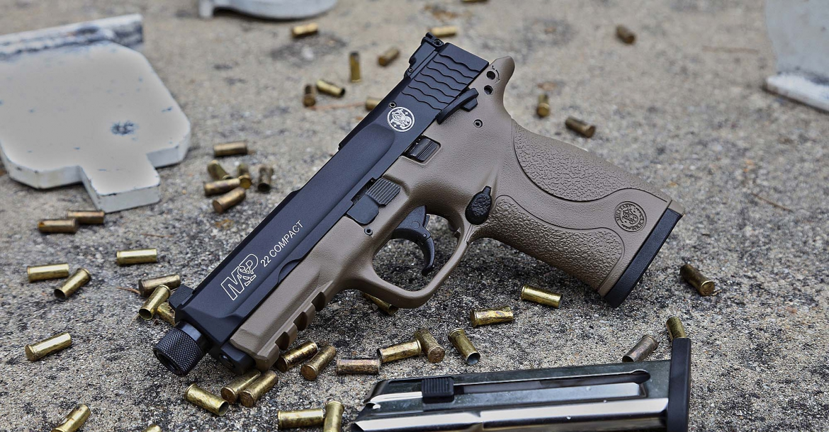 The new Smith & Wesson M&P-22 Compact pistol in Cerakote Flat Dark Ear