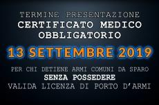 Detenzione armi e certificato medico obbligatorio: scadono i termini