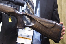 The left view of the buttstock shows the traditional design of the cheekpiece