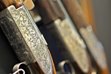 Detail of the engraving of a Browning B15 shotgun from the John Moses Browning Collection