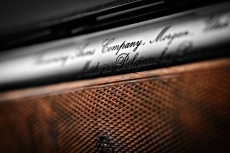 Detail of the inscription on the barrels of a Browning B25 shotgun from the John Moses Browning Collection
