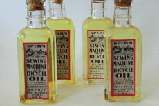 Sperm whale oil (spermaceti) from an online antique dealer (kahnfineantiques.com). It was employed to lubricate any kind of mechanism, such as sewing machines or even bycicles.